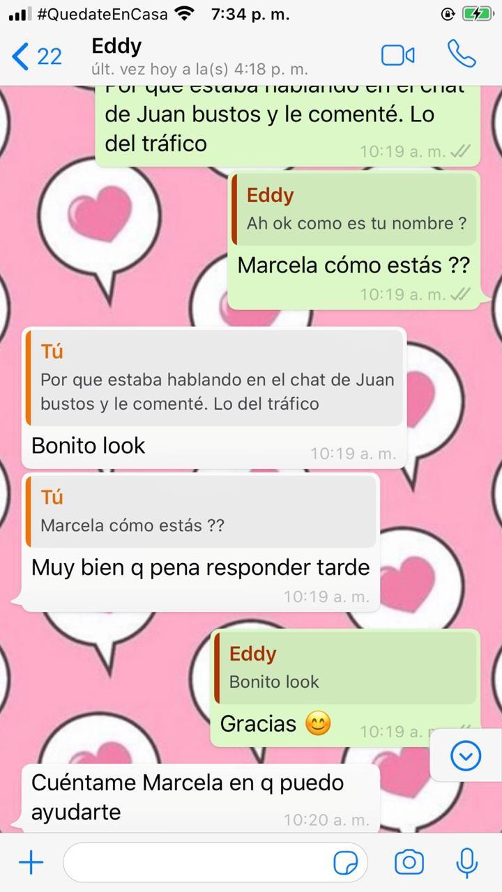 estafas en el chat de Juan Bustos